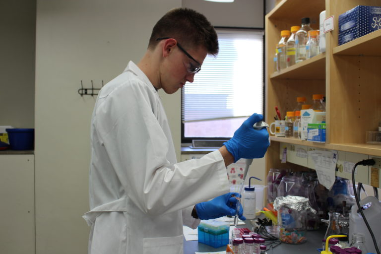 Student pipetting a solution
